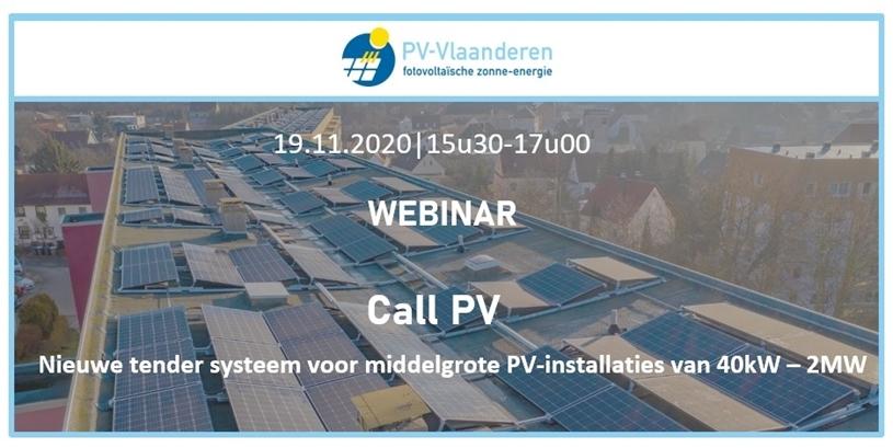 Webinar PV Vlaanderen Call PV: Nieuwe tender systeem voor middelgrote PV-installaties van 40kW – 2MW