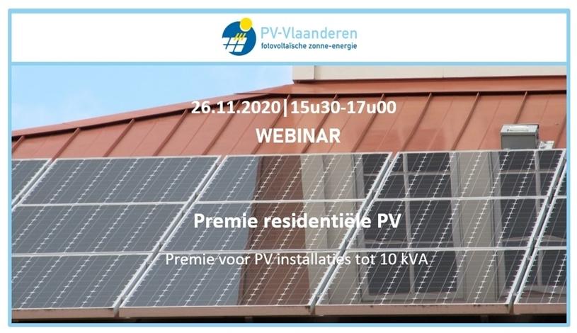 Webinar PV-Vlaanderen: Premie residentiële PV: premie voor PV installaties tot 10 kVA