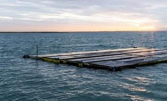 Storm Ciara kreeg geen grip op drijvend zonnepark op zee