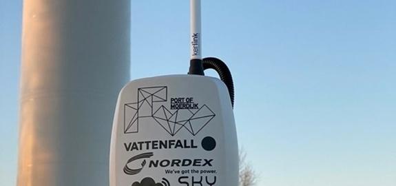 Primeur met slimme sensoren op windmolens Moerdijk in Nederland