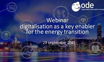Webinar digitalisering als sleutel voor de energietransitie voor ODE-leden op 29 september 2021